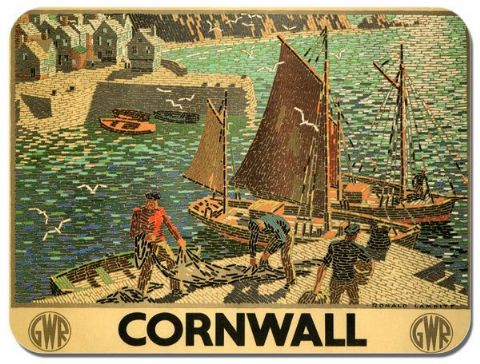 Cornwall Vintage Railway Poster Mouse Mat. Great Western Train Fishing Mouse pad